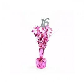 Centrepiece 16 Silver & Cerise / Pink Stars