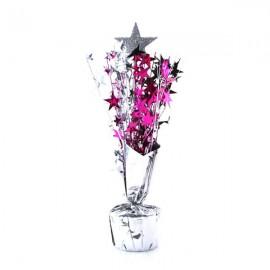 Centrepiece Silver Star & Black, Cerise &