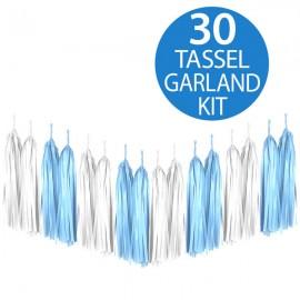 Tassel Garland Tissue Paper Blue & White