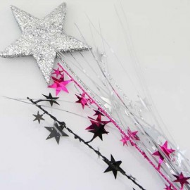 Spray Foam Star Silver & Silver, Cerise & Black Stars