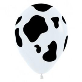 30cm Cow Animal Print Black & White Latex Balloons