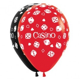30cm Casino Cards & Suits Red & Black Latex Balloons