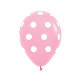 30cm Polka Dots on Fashion Pink Latex Balloons