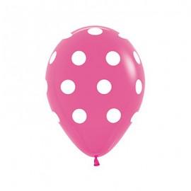 30cm Polka Dots on Fashion Fuchsia Latex Balloons
