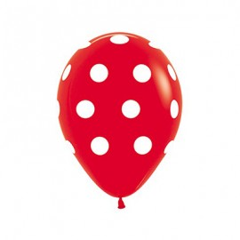 30cm Polka Dots on Fashion Red Latex Balloons