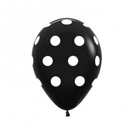 30cm Polka Dots on Fashion Black Latex Balloons