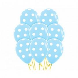 30cm Polka Dots on Pastel Blue Latex Balloons