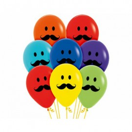 30cm Smiley Moustache Faces Latex Balloons