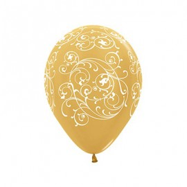 30cm Filigree Metallic Gold Latex Balloons