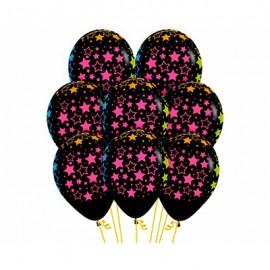 30cm Bold Neon Stars on Black Latex Balloons