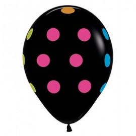 30cm Neon Polka Dots on Black Latex Balloons