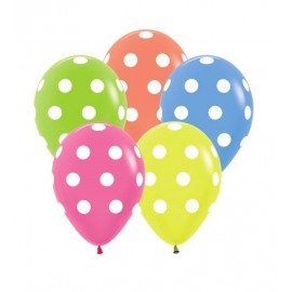 30cm Polka Dots on Neon Assorted Latex Balloons