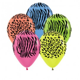 30cm Jungle Safari Animal Print Neon Latex Balloons