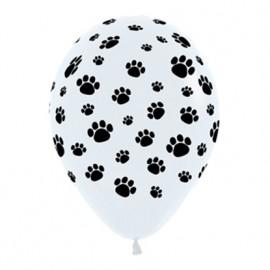 30cm Animal Paw Prints Black & White Latex Balloons