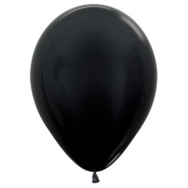 12cm Metallic Pearl Onyx Black Latex Balloons