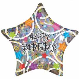 Shape Happy Birthday Stars Holographic