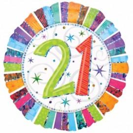 45cm 21 Radiant Birthday Holographic
