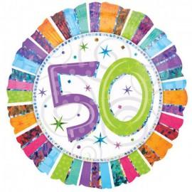 45cm 50 Radiant Birthday Holographic