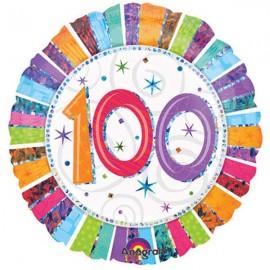 45cm 100 Radiant Birthday Holographic