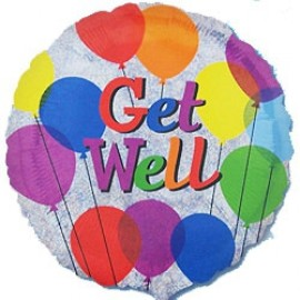 45cm Get Well Balloons Colourful Holographic