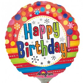 10cm Happy Birthday! Bright Dots &Stripes (Inflated)