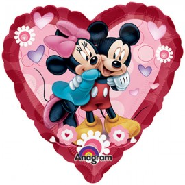 22cm Mickey & Minnie Love Heart (Inflated)