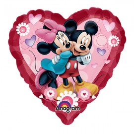 22cm Mickey & Minnie Heart (Flat)