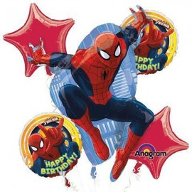 Spiderman Bouquet Birthday 1 x Super Shape & 4 x 45cm