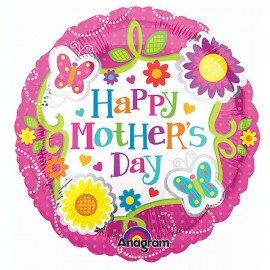 22cm Happy Mother's Day Butterflies & Flowers (Flat)