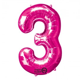 Shape Number Three Pink, Helium Saver