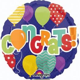 22cm Congrats! Balloons Design (Flat)