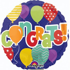22cm Congrats! Balloons Design (Inflated)