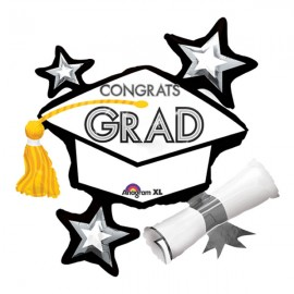 Shape Congrats Grad Hat & Stars, Black & White