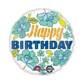 45cm Happy Birthday Blue Sparkly Floral & Gold