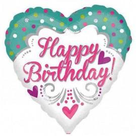 45cm Happy Birthday! Hearts & Dots