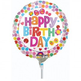 10cm Happy Birthday Flowers Butterflies & Dots (Flat)