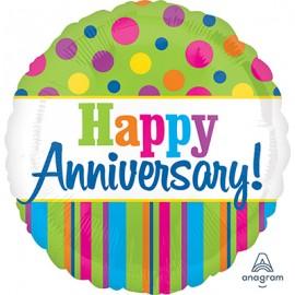 45cm Happy Anniversary Bright Dots & Stripes