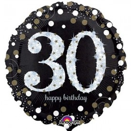 45cm 30th Sparkling Happy Birthday Holographic