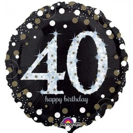45cm 40th Sparkling Happy Birthday Holographic