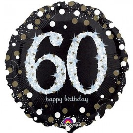 45cm 60th Sparkling Happy Birthday Holographic