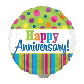 22cm Happy Anniversary! Bright Stripes & Dots (Flat)