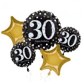 30th Happy Birthday Bouquet 1 x Jumbo Shape & 4 x 45cm