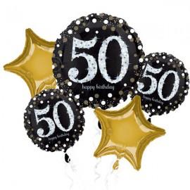 50th Happy Birthday Bouquet 1 x Jumbo Shape & 4 x 45cm
