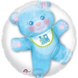 60cm Baby Boy Teddy Double Bubble Balloon Insiders