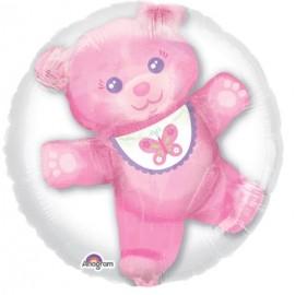 60cm Baby Girl Teddy Double Bubble Balloon Insiders