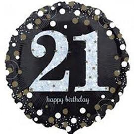 45cm 21st Sparkling Happy Birthday Holographic