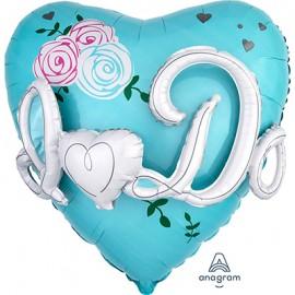 Shape I Do Heart & Flowers Tiffany Blue Multi Balloon