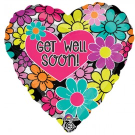 45cm Get Well Soon Floral Graphic Heart