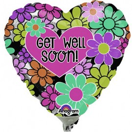 22cm Get Well Soon! Graphic Floral (Inflated)