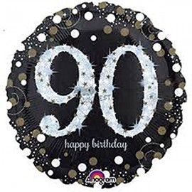 45cm 90th Sparkling Happy Birthday Holographic